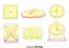 Colorful Hand Drawn Watch Vector Set