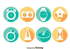 Watch Long Shadow Icons Vector
