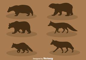 Skog djur silhuett vektor uppsättning