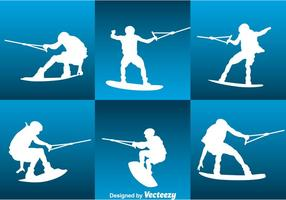 Water Skiing Silhouette Vector Set