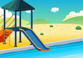 Illustration of water slide with background