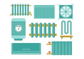 Gratis Radiator en Verwarming Platte Pictogram Vectors