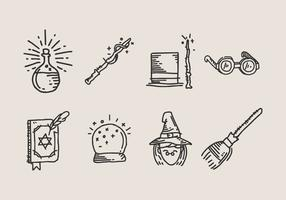 Set of hand drawn wizardry icon doodles