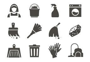 Vetor grátis de ícones de limpeza do serviço de limpeza
