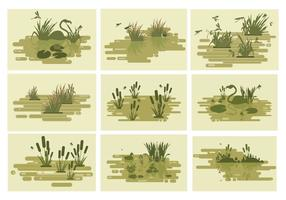 Swamp Lakes Vector Illustration