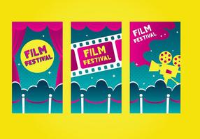Velvet rope film festival template vector