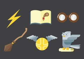 Set of magical fantasy icon elements vector