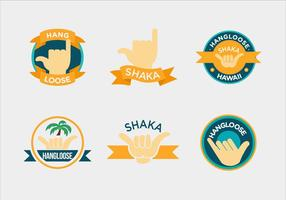 Vecteurs de main d'étiquette shaka