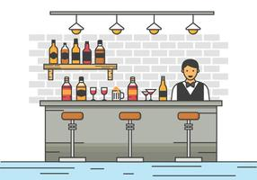 Barman Server at the Bar Vector Illustration