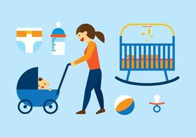 Babysitter plana vector libre