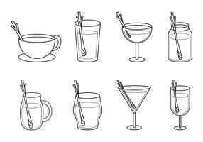 Libre de beber vidrio con Lemongrass Vector