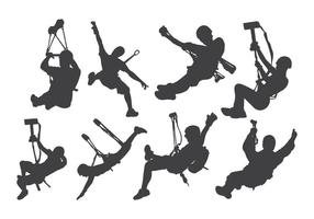 Free Zipline Action Silhouette Vector