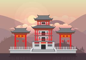 Chinese Town Illustration