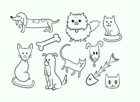 Cute Cat e Dog Vectors