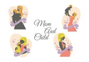 Vecteur gratuit maman et enfant