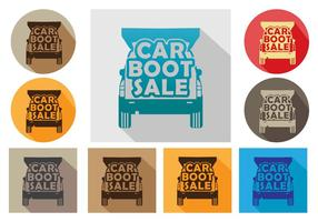 Car boot icon vector set