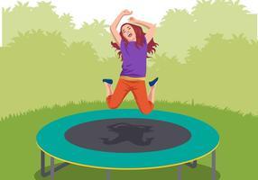 Barnen spelar trampolin