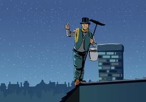 Chimney Sweep Holding Sweeper vector