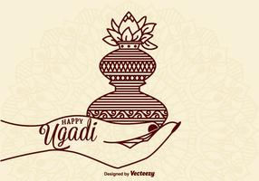 Gratis Glad Ugadi Vector Card