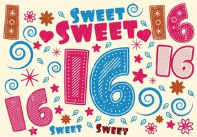 Sweet 16 Greeting Card vector