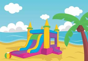 Illustration Of Bouncy Castle On Beach