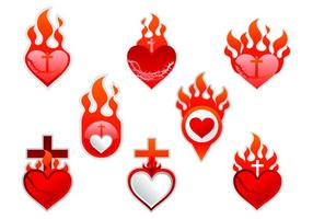 Sacred Heart label sticker vector