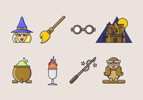 Set of witch and wizard thick line art elements