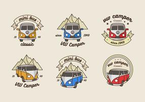 Logo de minibus d'aventure vintage vecteur