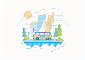 Hippie Bus Landschap Vector
