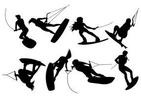 Silhuetter av wakeboarding vektorer