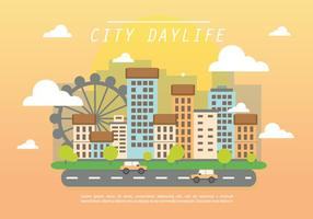Flat City Daylife Vector Achtergrond