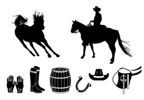 Element of barrel racing silhouette vector
