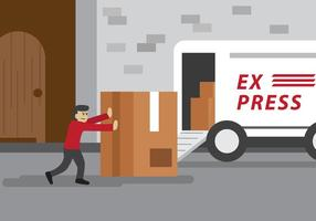 Delivery Man Pushing Package Vector