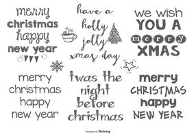 Hand Drawn Style Christmas Lables vector
