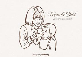 Vector Mom And Child Illustration