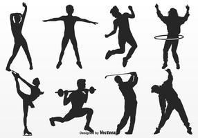 Vecteur de silhouettes de mouvements de personnes libres