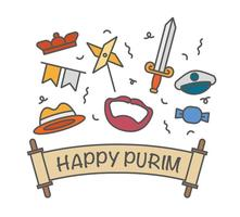 Happy vectoriales purim iconos