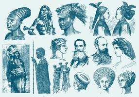 Penteados azuis e ilustrações de toques