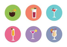 Drinks Colorful Flat Icons vector