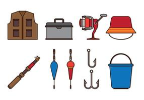 Set Fly Fly Fishing Icons