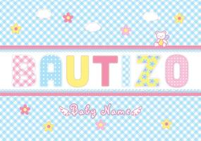 Bautizo Scrapbook Vector Card