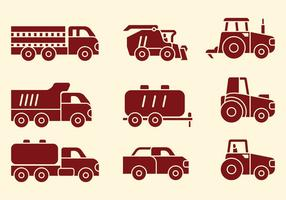 Agriculture Machines Icons vector