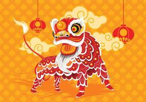 Ilustração vetorial, tradicional, chinês, leão, dança, festival, fundo