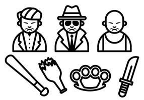Yakuza icone vettoriali gratis