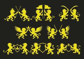 Ícones desenfreados de leão