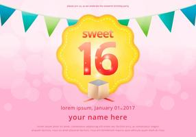 Sweet 16 Illustration Birthday Invitation Template