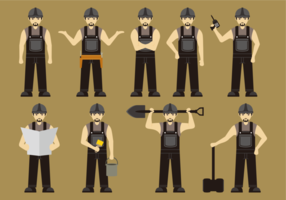 Construction Worker in Black Overalls vector