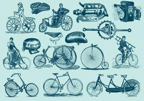 Illustrations de vélo vintage bleu vecteur