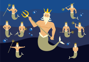 Poseidon Zeichen Vektor
