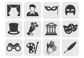 Free Theatre Acting Perform Icons Vector